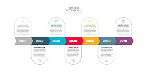 Plantilla de infografía empresarial de presentación con 7 opciones.