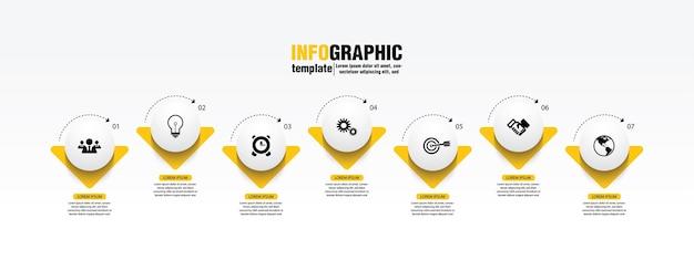 Plantilla de infografía empresarial de presentación con 7 pasos