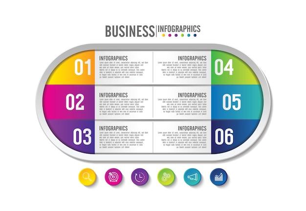 Plantilla de infografía empresarial de presentación colorida con 6 pasos