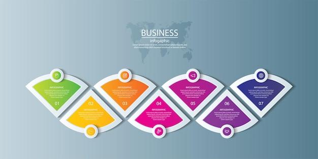 Plantilla de infografía empresarial de presentación colorida con 7 pasos