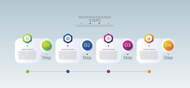 Plantilla de infografía empresarial de presentación con cuatro pasos.