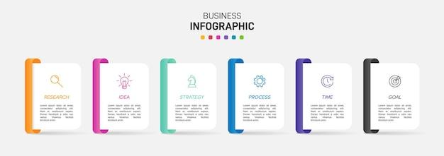 Plantilla para infografía empresarial. seis opciones o pasos con iconos y texto.