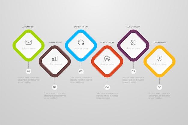 Plantilla de infografía empresarial con seis pasos o elementos de procesos. se puede utilizar para informes anuales, diagramas de flujo, diagramas, presentaciones, sitios web. ilustración.