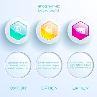 Plantilla de infografía empresarial con tres coloridos hexágonos brillantes círculos de luz e iconos