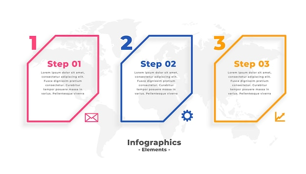 Plantilla de infografía empresarial con tres pasos.