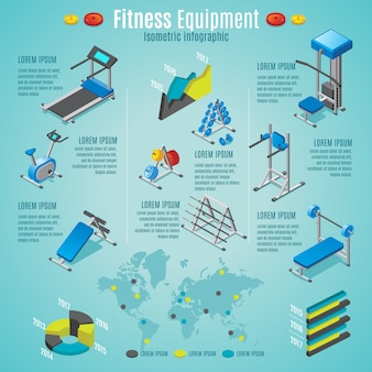 Plantilla de infografía de equipos de fitness isométrica con cinta de correr bicicleta estacionaria mancuernas barras diferentes entrenadores aislados