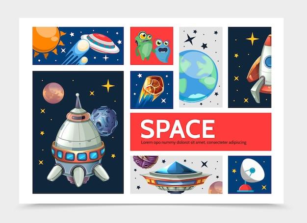 Plantilla de infografía espacial de dibujos animados con planetas nave espacial cohete ovni lindos extraterrestres antena parabólica estrellas