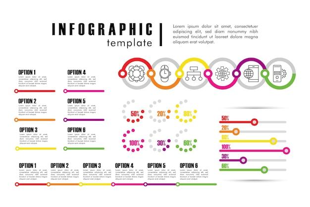 Plantilla de infografía con estadísticas en diseño de ilustración en blanco