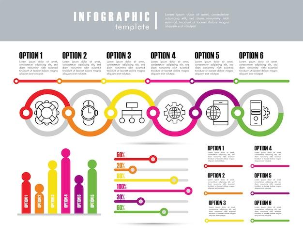 Plantilla de infografía con estadísticas en diseño de ilustración gris y blanco