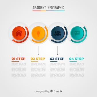 Plantilla de infografía en estilo colorido degradado