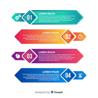 Plantilla de infografía en estilo degradado
