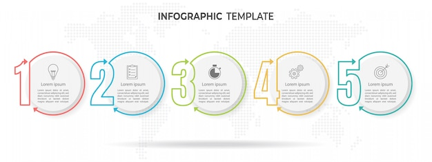 Plantilla de infografía estilo de línea moderna y delgada, con 5 números y opciones de círculo.