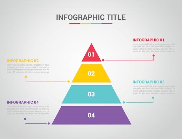 Plantilla de infografía con estilo de pirámide con texto de espacio libre