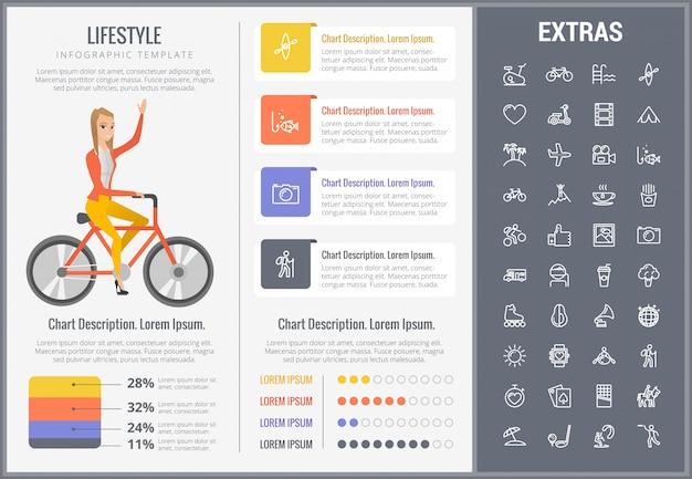 Plantilla de infografía de estilo de vida, elementos e iconos