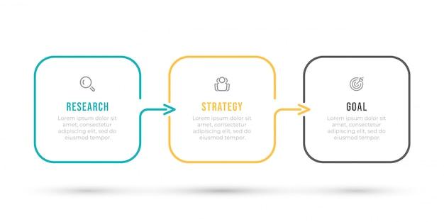 Plantilla de infografía etiqueta de diseño de línea delgada con flechas y 3 opciones, pasos o procesos.
