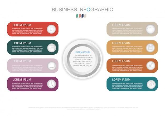 Plantilla de infografía con etiqueta de papel 3d y 8 opciones.