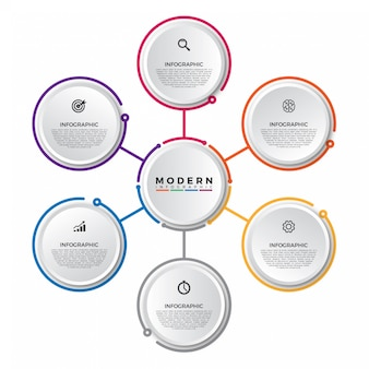 Plantilla de infografía con etiqueta de papel 3d, círculos integrados.