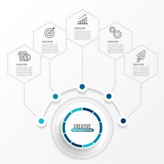 Plantilla de infografía con etiqueta de papel 3d. concepto de negocio con 5 opciones.