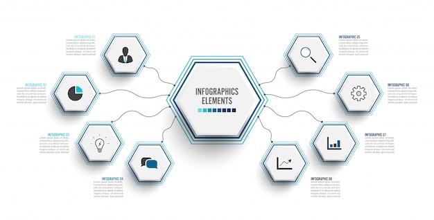 Plantilla de infografía con etiqueta de papel 3d. concepto de negocio con 8 opciones.
