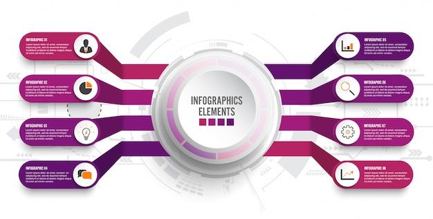 Plantilla de infografía con etiqueta de papel 3d. negocios con 8 opciones.