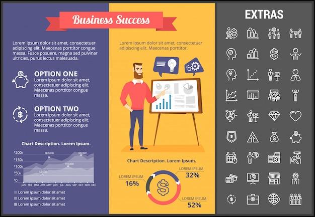 Plantilla de infografía de éxito empresarial y elementos