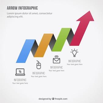Plantilla de infografía de flecha colorida