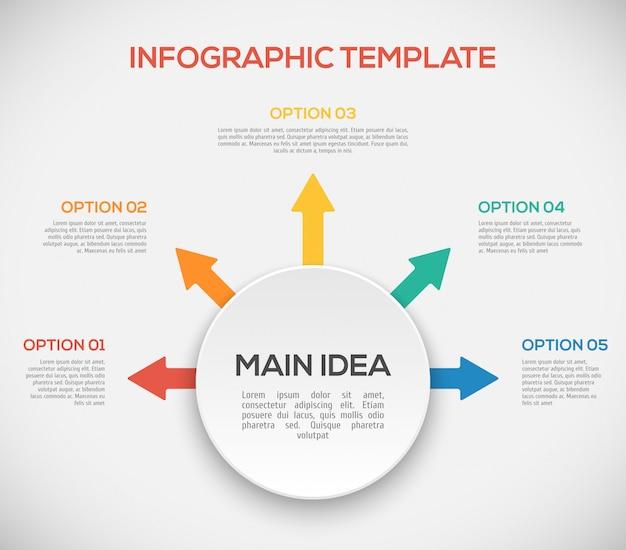 Plantilla de infografía con flechas y círculo 3d. infografía de forma diferente.