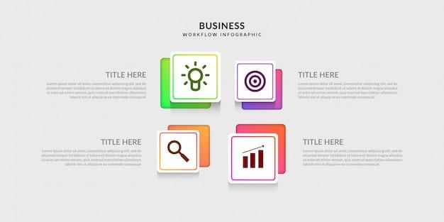 Plantilla de infografía de flujo de trabajo moderno, gráfico de proceso de negocio con opción múltiple