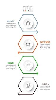 Plantilla de infografía de flujo de trabajo de proceso de 4 pasos