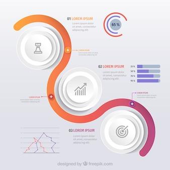 Plantilla de infografía con formas coloridas