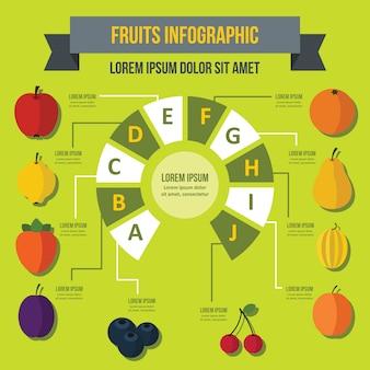 Plantilla de infografía de frutas, estilo plano