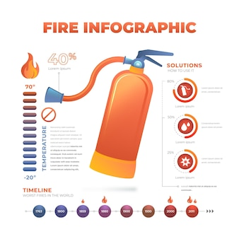 Plantilla de infografía de fuego degradado