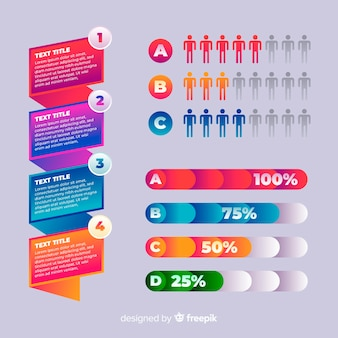 Plantilla de infografía gradiente con barras de porcentaje