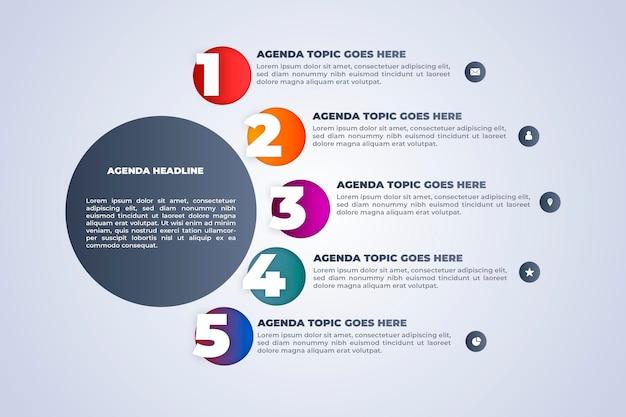 Plantilla de infografía de gráfico de agenda