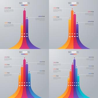 Plantilla de infografía de gráfico de barras con opciones.