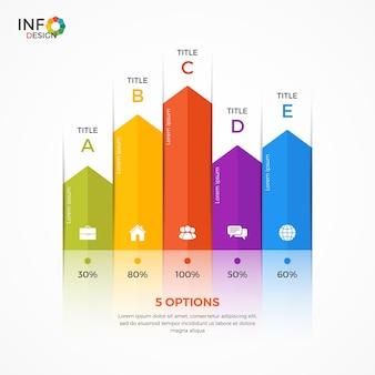 Plantilla de infografía de gráfico de columnas con 5 opciones. los elementos de esta plantilla se pueden ajustar, transformar, agregar / completar, eliminar fácilmente y se puede cambiar el color.