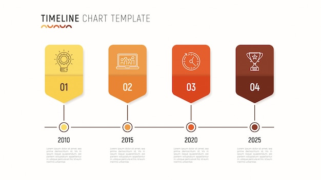 Plantilla de infografía de gráfico de línea de tiempo para visualización de datos. 4 st