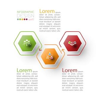 Plantilla de infografía hexagonal
