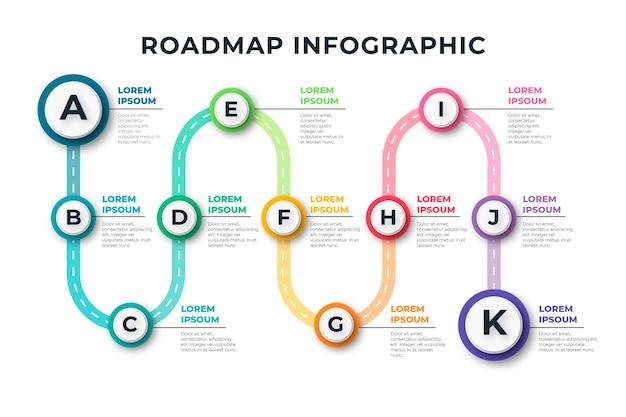 Plantilla de infografía de hoja de ruta plana