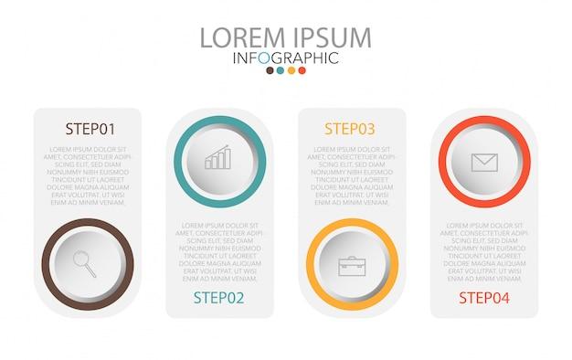 Plantilla de infografía con iconos y 4 pasos.