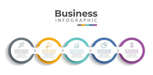 Plantilla de infografía con iconos y 5 opciones o pasos.
