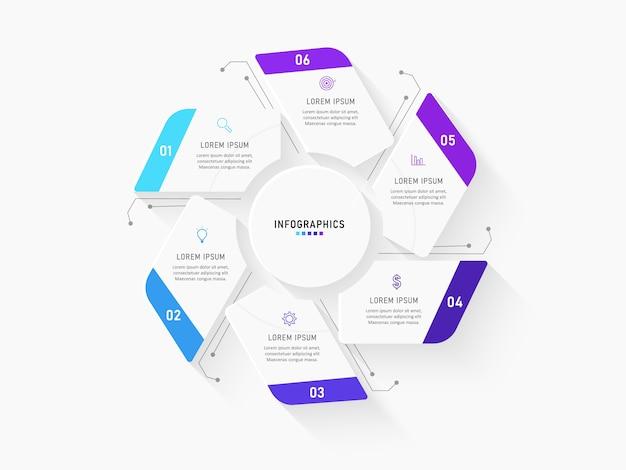 Plantilla de infografía con iconos y 6 opciones o pasos.
