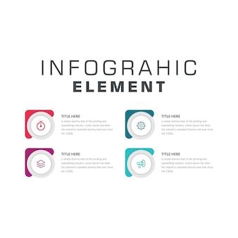 Plantilla de infografía de iconos de marketing de cuatro puntos