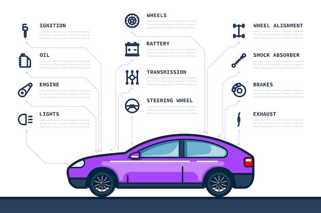 Plantilla de infografía con iconos de piezas de coche y coche