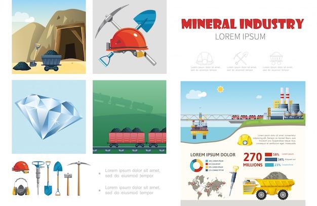 Plantilla de infografía de la industria minera plana con casco, taladro, pala, pico, transporte de carbón, planta de extracción de minerales, camión volquete