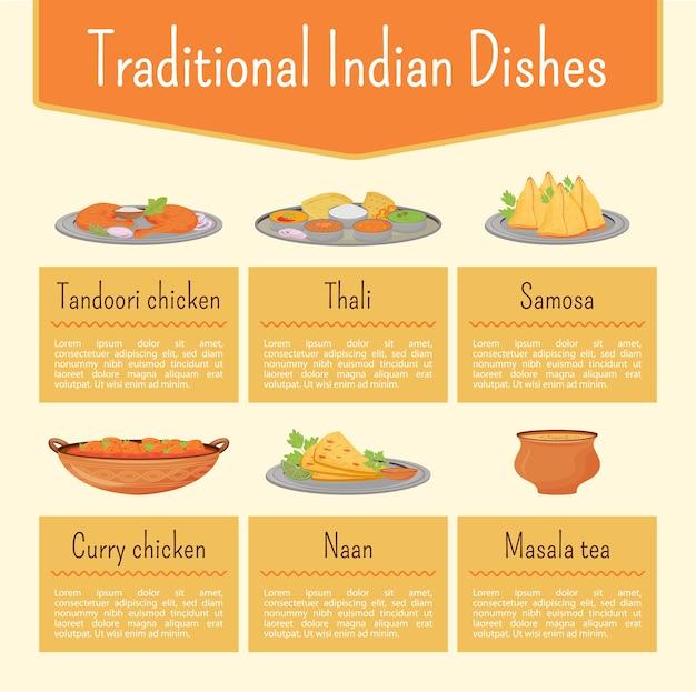 Plantilla de infografía informativa de color plano de platos indios. cartel de recetas de comida, folleto, diseño de concepto de página ppt con personajes de dibujos animados. folleto publicitario de menú, folleto, idea de banner de información