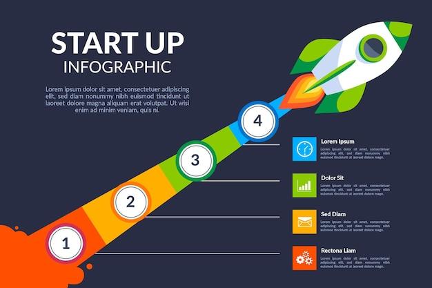 Plantilla de infografía de inicio de diseño plano