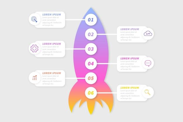 Plantilla de infografía de inicio gradiente