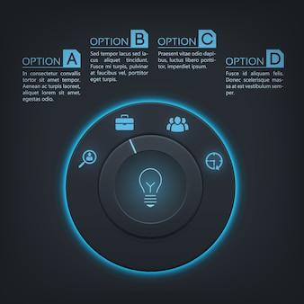 Plantilla de infografía interactiva con cuatro pasos,