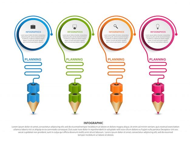 Plantilla de infografía con lápiz.